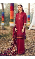 Embroidered Khaddar Shirt Front  Embroidered Khaddar Sleeves  Digital Printed Khaddar Shirt Back   Dyed Khaddar Trouser  Digital Printed Viscose Shawl