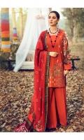 Embroidered Khaddar Shirt Front  Digital Printed Khaddar Shirt Back & Sleeves  Dyed Khaddar Trouser  Digital Printed Viscose Shawl