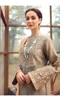 Jacquard Silk Karandi Shirt  Embroidered Shawl  Dyed Silk Karandi Trouser  Embroidered & Sequined Neck  Embroidered Border