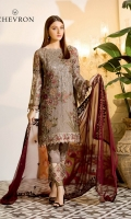 Embroidered chiffon front with sequins – 30 inch Embroidered chiffon back – 30  inch Embroidered chiffon sleeves – 1.25 Meter Embroidered tissue sleeves lace with pasting -1.25 Meter Embroidered tissue ghera lace – 1.5 Meter Embroidered chiffon dupatta – 2.50 Meter Raw Silk trouser – 2.5 Meter Embroidered tissue trouser lace for pasting