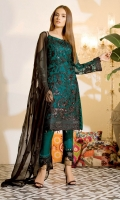 Embroidered chiffon front with sequins– 30 inch Embroidered chiffon back – 30 inch Embroidered chiffon sleeves – 1.25 Meter Embroidered tissue sleeves lace-1.25 Meter Embroidered tissue ghera lace – 1.5 Meter Embroidered Chiffon dupatta – 2.50 Meter Raw silk trouser – 2.5 Meter Embroidered tissue trouser lace for pasting