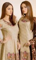 Embroidered chiffon front with sequins– 36 inch Embroidered chiffon back – 36 inch Embroidered chiffon sleeves – 1.25 Meter Embroidered tissue sleeves lace with pasting– 1.25 Meter Embroidered Net neck pasting Embroidered Net ghera lace – 1.5 Meter Embroidered chiffon dupatta – 2.50 Meter Raw Silk trouser – 2.5 Meter Embroidered tissue trouser lace for pasting