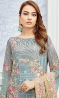 Embroidered chiffon front with sequins– 36 inch Embroidered chiffon back – 36 inch Embroidered chiffon sleeves – 1.25 Meter Embroidered tissue sleeves lace with pasting– 1.25 Meter Embroidered tissue daman lace – 1.5 Meter Embroidered chiffon dupatta – 2.50 Meter Raw silk trouser – 2.5 Meter Embroidered tissue trouser lace