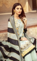 Digital printed shirt 3 meter  Digital printed silk dupatta 2.5 meter  Embroidered front  Embroidered patches for sleeves  Embroidered lace for trouser   Dyed trouser 2.5 meter