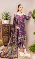 Digital printed shirt 3 meter  Embroidered front  Embroidered lace for daman  Digital printed bambar chiffon dupatta 2.5 meter  Embroidered lace for trouser  Dyed trouser 2.5 meter
