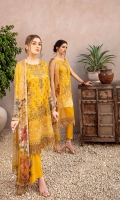 Digital printed shirt 3 meter  Embroidered front  Embroidered lace for daman  Digital printed bambar chiffon dupatta 2.5 meter  Embroidered patches  for trouser   Dyed trouser 2.5 meter