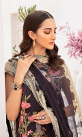 Digital printed shirt 3 meter  Embroidered patches for front  Embroidered patches for sleeves  Embroidered lace for sleeves  Digital printed bambar chiffon dupatta 2.5 meter  Embroidered lace for trouser   Dyed trouser 2.5 meter