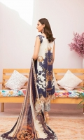 Digital printed shirt 3 meter  Embroidered patch for front  Embroidered lace for sleeves  Digital printed bambar chiffon dupatta 2.5 meter  Embroidered lace for trouser  Dyed trouser 2.5 meter