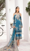 Digital printed shirt 3 meter  Embroidered patches for front  Embroidered lace for sleeves  Embroidered lace for daman  Digital printed bambar chiffon dupatta 2.5 meter  Embroidered lace for trouser  Dyed trouser 2.5 meter