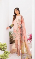 Digital printed shirt 3 meter  Embroidered front  Embroidered patches for sleeves  Digital printed bambar chiffon dupatta 2.5 meter  Embroidered lace for trouser  Dyed trouser 2.5 meter