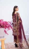 Digital printed shirt 3 meter  Embroidered patches for front  Embroidered lace for daman  Digital printed bambar chiffon dupatta 2.5 meter  Embroidered lace for trouser  Dyed trouser 2.5 meter
