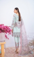 Digital printed shirt 3 meter  Embroidered patch for neckline  Embroidered patches for front  Embroidered lace for daman  Digital printed bambar chiffon dupatta 2.5 meter  Embroidered patches for trouser  Dyed trouser 2.5 meter