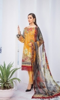 Digital printed shirt 3 meter  Embroidered front  Embroidered lace for sleeves  Digital printed bambar chiffon dupatta 2.5 meter  Embroidered patches for trouser  Embroidered lace for trouser  Dyed trouser 2.5 meter