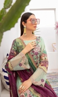Digital printed shirt 3 meter  Embroidered patches for front    Embroidered lace for sleeves  Digital printed bambar chiffon  dupatta 2.5 meter  Embroidered lace for trouser  Dyed trouser 2.5 meter