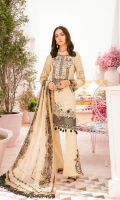 Digital printed shirt 3 meter  Embroidered patch for neckline  Embroidered patch for front  Embroidered lace for daman  Digital printed bambar chiffon dupatta 2.5 meter  Embroidered patches for trouser   Dyed trouser 2.5 meter