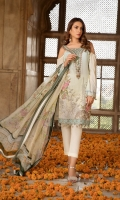 Embroidered Lawn Front  Printed Back  Printed Chiffon Dupatta  Simple Trouser