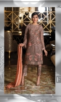Embroidered chiffon front with sequence– 30 inch Embroidered chiffon back – 30 inch Embroidered chiffon sleeves with lace pasting – 1.25 Meter Embroidered tissue ghera lace – 1.5 Meter Embroidered chiffon dupatta – 2.50 Meter Grip trouser with patches– 2.5 Meter