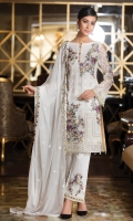 Embroidered chiffon front with sequence – 30 inch Embroidered chiffon back – 30 inch Embroidered chiffon sleeves with lace pasting– 1.25 Meter Embroidered tissue ghera lace – 1.5 Meter Embroidered chiffon dupatta – 2.50 Meter Grip trouser with patches– 2.5 Meter