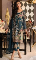 Embroidered chiffon front with sequence– 30 inch Embroidered chiffon back – 30 inch Embroidered chiffon sleeves with lace pasting – 1.25 Meter Embroidered Net ghera lace – 1.5 Meter Embroidered chiffon dupatta – 2.50 Meter Grip trouser with patches– 2.5 Meter