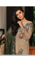 Embroidered chiffon front with sequence– 30 inch Embroidered chiffon back – 30 inch Embroidered chiffon sleeves with patches – 1.25 Meter Embroidered tissue ghera lace – 1.5 Meter Embroidered chiffon dupatta – 2.50 Meter Grip trouser with patches – 2.5 Meter