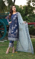 Embroidered chiffon front with sequins– 30 inch Embroidered chiffon back – 30 inch Embroidered chiffon sleeves – 1.25 Meter  Embroidered tissue sleeves lace -1.25 Meter Embroidered tissue ghera lace – 1.5 Meter Embroidered chiffon dupatta – 2.50 Meter Raw Silk trouser – 2.5 Meter  Embroidered tissue trouser lace for pasting