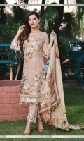 Embroidered chiffon front with sequins – 36 inch Embroidered chiffon back – 36 inch  Embroidered chiffon sleeves – 1.25 Meter Embroidered tissue sleeves lace  Embroidered tissue ghera lace –1.5 Meter  Digital Printed Silk dupatta – 2.50 Meter Raw Silk trouser – 2.5 Meter  Embroidered tissue trouser lace for pasting