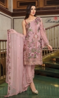 Embroidered chiffon front with sequins – 30 inch Embroidered chiffon back – 30 inch  Embroidered chiffon sleeves – 1.25 Meter Embroidered tissue sleeves lace pasting  with net patches – 1.25 Meter  Embroidered tissue ghera lace – 1.5 Meter Embroidered chiffon dupatta – 2.50 Meter Raw Silk trouser – 2.5 Meter  Embroidered tissue trouser lace for pasting