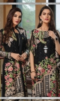 Embroidered chiffon front with sequins– 30 inch Embroidered chiffon back – 30 inch  Embroidered chiffon sleeves – 1.25 Meter Embroidered tissue sleeves lace – 1.25 Meter  Embroidered tissue ghera lace – 1.5 Meter Embroidered chiffon dupatta – 2.50 Meter  Raw Silk trouser – 2.5 Meter  Embroidered tissue trouser lace for pasting