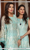 Embroidered chiffon front with sequins – 30 inch Embroidered chiffon back – 30 inch Embroidered Chiffon sleeves – 1.25 Meter Embroidered tissue sleeves lace  –1.25 Meter  Embroidered tissue ghera lace – 1.5 Meter Embroidered net dupatta – 2.50 Meter Raw Silk trouser – 2.5 Meter  Embroidered tissue trouser lace for pasting