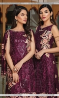 Embroidered chiffon front with sequins – 30 inch Embroidered chiffon back – 30 inch Embroidered chiffon sleeves – 1.25 Meter  Embroidered tissue sleeves lace – 1.25 Meter  Embroidered tissue ghera lace – 1.5 Meter Embroidered chiffon dupatta – 2.50 Meter  Raw Silk trouser – 2.5 Meter  Embroidered tissue trouser lace for pasting
