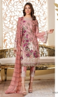 Three pcs embroidered chiffon suit