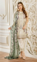 Embroidered chiffon front – 30 inch Embroidered chiffon back – 30 inch Embroidered chiffon sleeves – 1.25 Meter Embroidered tissue sleeves lace with tissue pasting -1.25 Meter Embroidered tissue ghera lace – 1.5 Meter Digital printed dupatta – 2.50 Meter Grip trouser – 2.5 Meter Embroidered tissue trouser patch with lace -2 patch