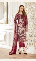Embroidered chiffon front – 30 inch Embroidered chiffon back – 30 inch Embroidered chiffon sleeves – 1.25 Meter Embroidered net sleeves lace– 1.25 Meter Embroidered net ghera lace – 1.5 Meter Embroidered chiffon dupatta – 2.50 Meter Grip trouser – 2.5 Meter Embroidered net trouser patch- 2 Patches