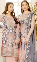 Embroidered chiffon front with sequence– 30 inch Embroidered chiffon back – 30 inch Embroidered chiffon sleeves – 1.25 Meter Embroidered tissue sleeves lace– 1.25 Meter Embroidered tissue ghera lace – 1.5 Meter Embroidered chiffon dupatta – 2.50 Meter Grip trouser – 2.5 Meter Embroidered tissue trouser patch- 4 patches