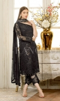 Embroidered chiffon front – 30 inch Embroidered chiffon back – 30 inch Embroidered chiffon sleeves – 1.25 Meter Embroidered net sleeves lace -1.25 Meter Embroidered net ghera lace – 1.5 Meter Digital printed dupatta – 2.50 Meter Grip trouser – 2.5 Meter Embroidered net trouser patch with net lace-2 patche