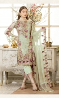Embroidered chiffon front – 30 inch Embroidered chiffon back – 30 inch Embroidered chiffon sleeves – 1.25 Meter Embroidered tissue sleeves lace– 1.25 Meter Embroidered tissue ghera lace – 1.5 Meter Embroidered chiffon dupatta – 2.50 Meter Grip trouser – 2.5 Meter Embroidered tissue trouser patch with lace -2 Patches