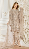 Embroidered chiffon front – 30 inch Embroidered chiffon back – 30 inch Embroidered chiffon sleeves – 1.25 Meter Embroidered tissue sleeves lace -1.25 Meter Embroidered tissue ghera – 1.5 Meter Embroidered Chiffon dupatta – 2.50 Meter Grip trouser – 2.5 Meter Embroidered tissue trouser patch with tissue lace-2 patches