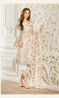Embroidered chiffon front with sequence – 30 inch Embroidered chiffon back – 30 inch Embroidered chiffon sleeves – 1.25 Meter Embroidered tissue sleeves lace with tissue pasting – 1.25 Meter Embroidered tissue ghera lace – 1.5 Meter Embroidered Chiffon dupatta – 2.50 Meter Grip trouser – 2.5 Meter Embroidered tissue trouser patch with tissue lace-2 patches