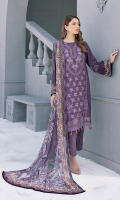 Embroidered Linen Slub Viscose Front  Printed Linen Slub Viscose Back  Printed Linen Slub Viscose Sleeves  Embroidered Patch For Daman  Printed Slub Chiffon Dupatta  Dyed Slub Viscose Trouser