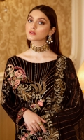 Embroidered Velvet front with sequins– 30 inch  Embroidered Velvet back – 30 inch Embroidered Velvet sleeves – 1.25 Meter  Embroidered Silk sleeves lace – 1.25 Meter Embroidered Silk damn lace – 1.5 Meter Embroidered Chiffon dupatta – 2.50 Meter  Raw silk trouser – 2.5 Meter