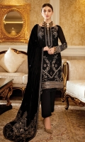 Embroidered Chiffon front with sequins– 30 inch  Embroidered Chiffon back – 30 inch Embroidered Chiffon sleeves – 1.25 Meter  Embroidered silk sleeves lace – 1.25 Meter Embroidered silk damn lace –   1.5 Meter  Embroidered Velvet Shawl – 2.5 Meter  Raw silk trouser – 2.5 Meter