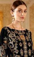 Embroidered Velvet front with sequins– 30 inch  Embroidered Velvet back – 30 inch Embroidered Velvet sleeves – 1.25 Meter  Embroidered Silk sleeves lace – 1.25 Meter Embroidered Silk damn lace – 1.5 Meter Embroidered Jamawar Shawl with four side patti – 2.50 Meter  Raw silk trouser – 2.5 Meter