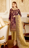 Embroidered Velvet front with sequins– 30 inch  Embroidered Velvet back – 30 inch Embroidered velvet sleeves – 1.25 Meter  Embroidered Silk sleeves lace – 1.25 Meter Embroidered Silk damn lace – 1.5 Meter Embroidered  Net Dupatta – 2.50 Meter  Jamawar trouser – 2.5 Meter