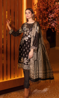 Embroidered velvet front with sequins Embroidered velvet back Embroidered velvet sleeves Embroidered silk sleeves lace Embroidered silk damn lace Printed  jamawar dupatta – 2.5 meter Raw silk trouser – 2.5 Meter