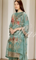 Embroidered Chiffon Front  Embroidered Back  Embroidered Chiffon Dupatta Grip Trouser With Embroidered patch
