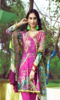 Digital Printed Lawn Shirt With Embroidered Neck Digital Chiffon Dupatta With Embroidered Cambric Dyed Trouser