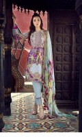 Digital Printed & Embroidered Linen Shirt Embriodered Chiffon Dupatta Dyed Trouser