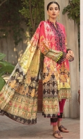 Digital Printed Shirt With Embroidered Neck Digital Printed Banarsi Dupatta Dyed Cambric Cotton Trouser