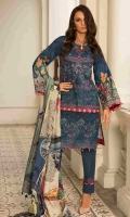 """Digital Print Embroidered Lawn Shirt Front 1.30 yards Digital Print Lawn Shirt Back and Sleeves 2.00 yards Digital Print Chiku Silk Dupatta 2.75 yards Dyed Cambric Trouser 2.65 yards Embroidered Trouser Lace on Tissue – 40"""" 01 piece"""