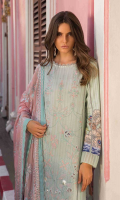 "Digital Print Boring Embroidered Dobby Lawn Shirt Front 1.30 yards Digital Print Dobby Lawn Shirt Back and Sleeves 2.00 yards Embroidered Pure Bamber Chiffon Dupatta 2.65 yards Dyed Cambric Trouser 2.65 yards Embroidered Trouser and Shirt Front Lace on Tissue – 70"" 01 piece"